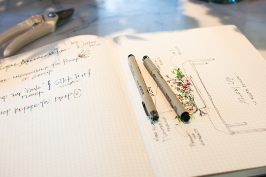 Mona Moreno's floral idea sketches in a notebook