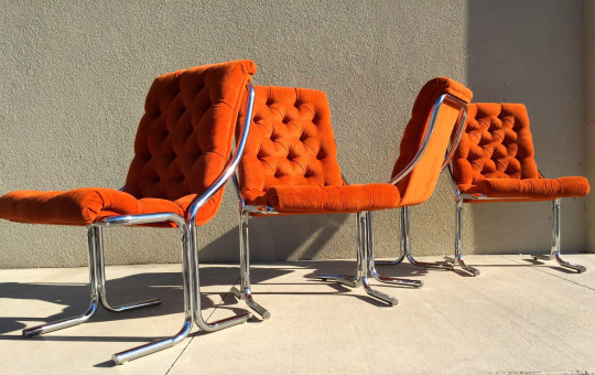 Orange Velvet Accent Chairs on Chairish.