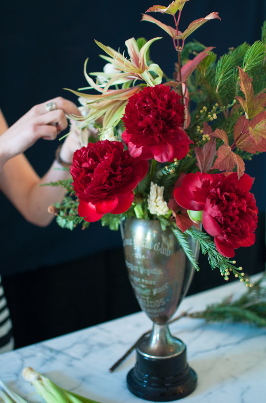 Holiday florals in a vintage trophy cup