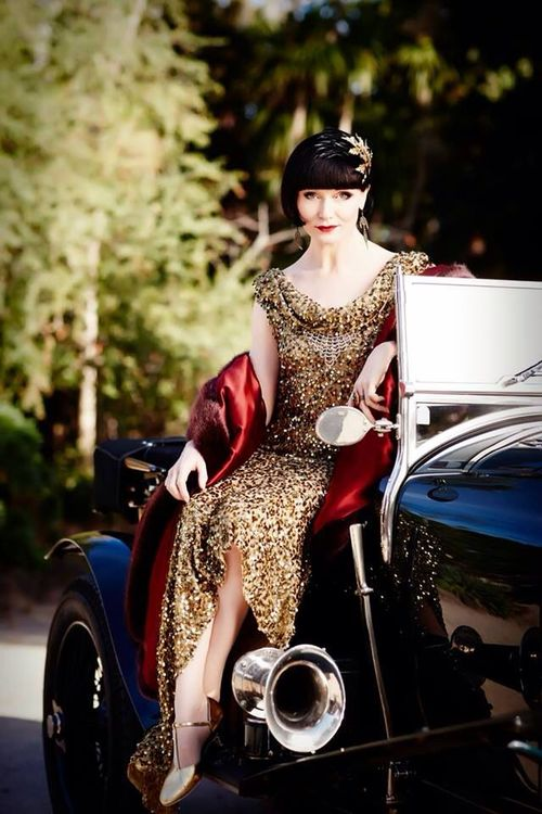 Miss Fisher murder mysteries luxury high fashion style gold dress black car