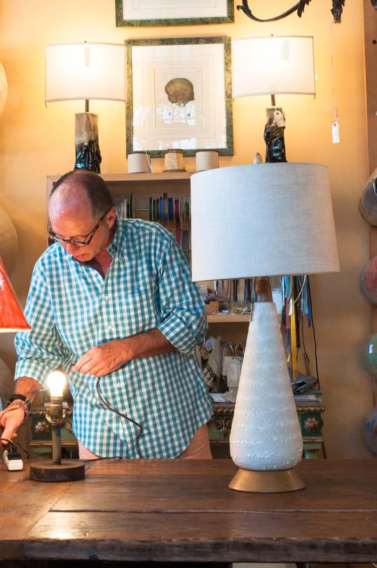 A rectangular lamp shade lends the lamp a contemporary look