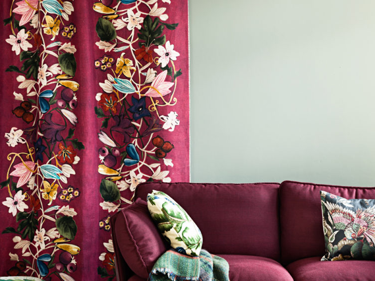 Embroidered Panel Hung on a Wall Magenta