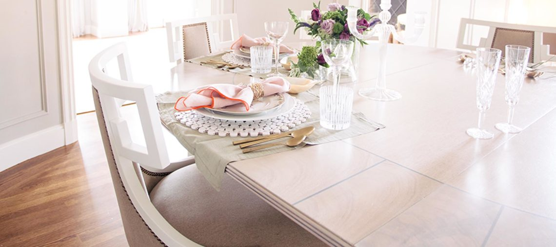 Dining Table with Gray Bergere Dining Chairs