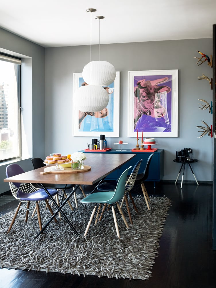 Mid-Century Modern Multicolored Eames Wire Bikini Chairs in Contemporary Modern Dining Room