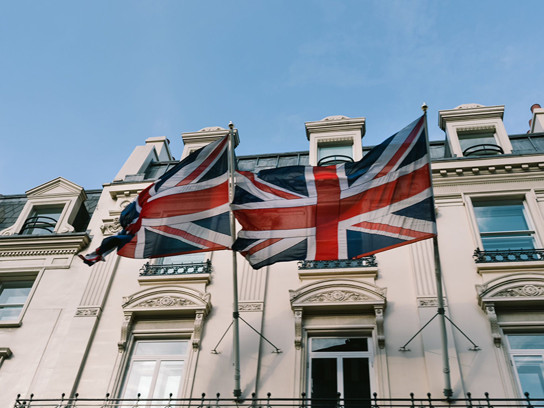 Housing complex in London flying the Union Jack flag