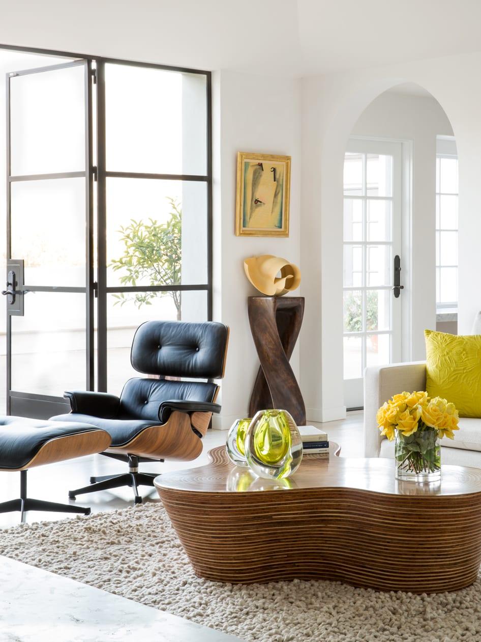 living room design eames lounge chair black ottoman modern decaso
