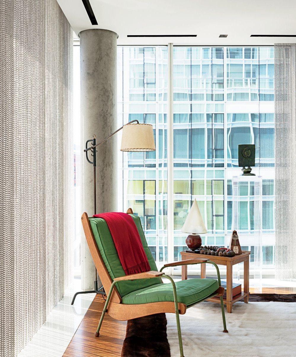 preston phillips interior design reading chaise floor lamp rug green upholstery curtains