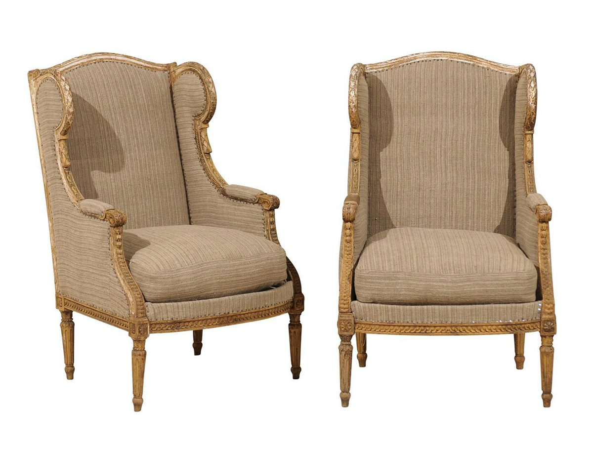 wingback chairs french 19th century wood