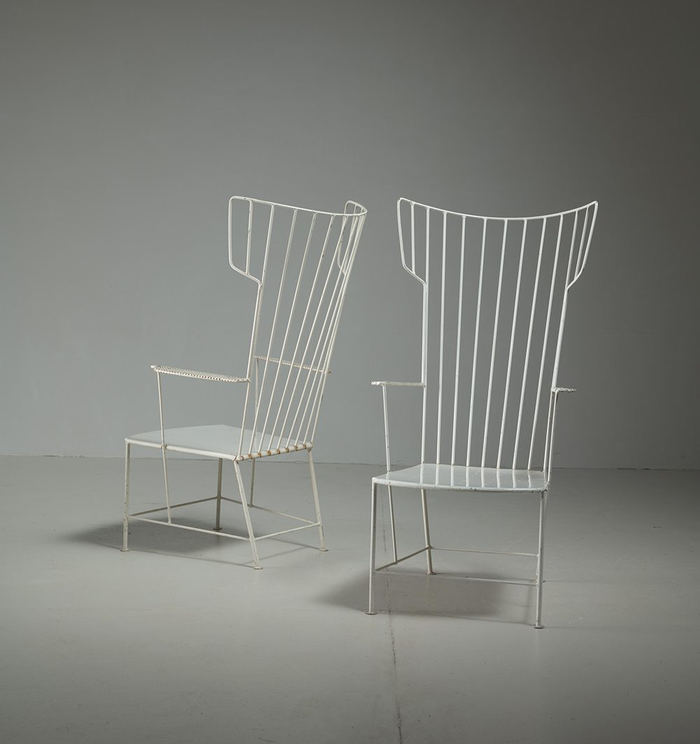 Praun Lauterbach Pair White Metal Garden Chairs wingback