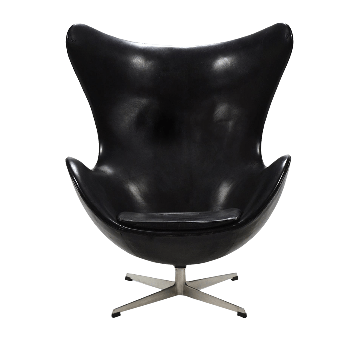 Arne Jacobsen early egg chair in original black leather wingback