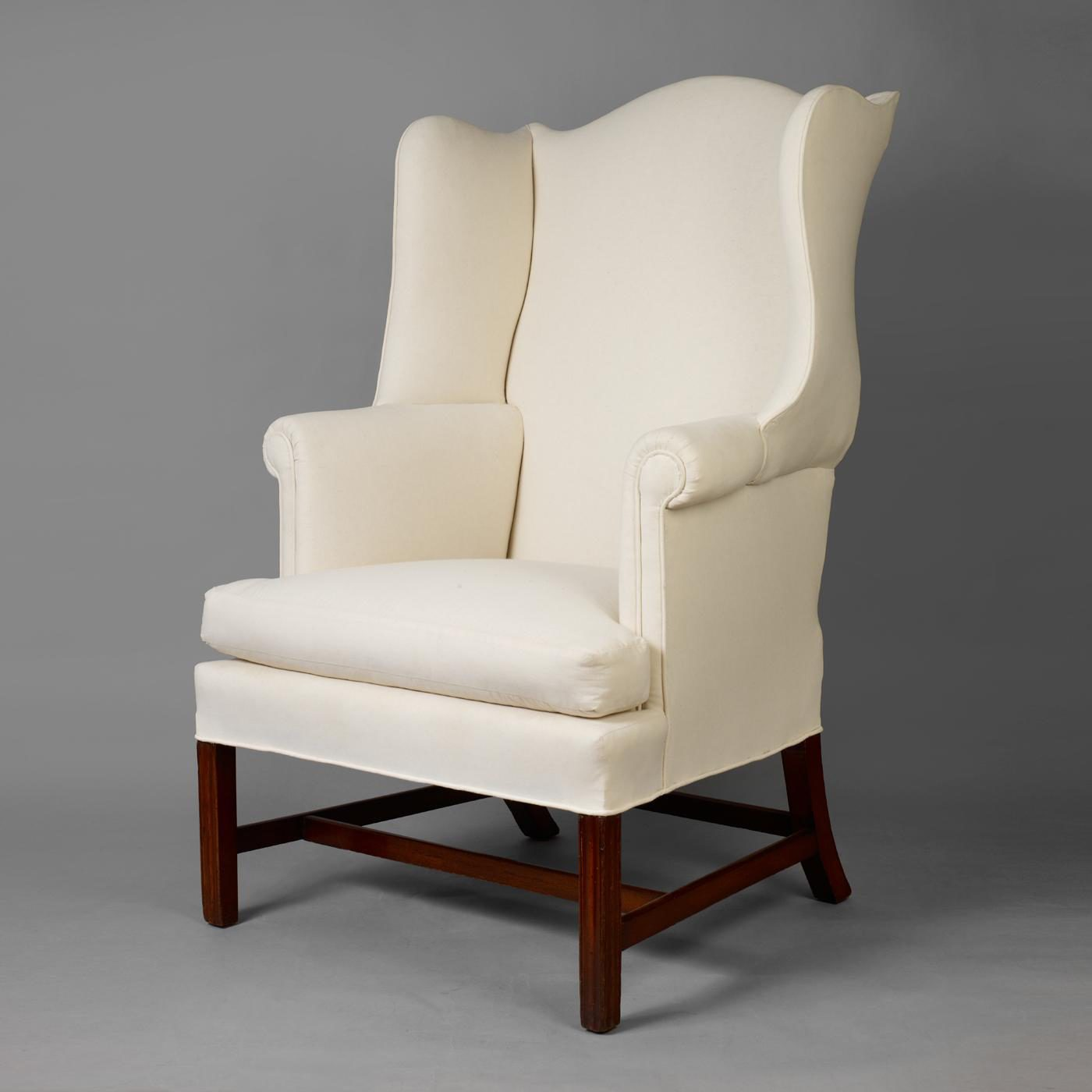 Chippendale Wingback Chair white wood base decaso