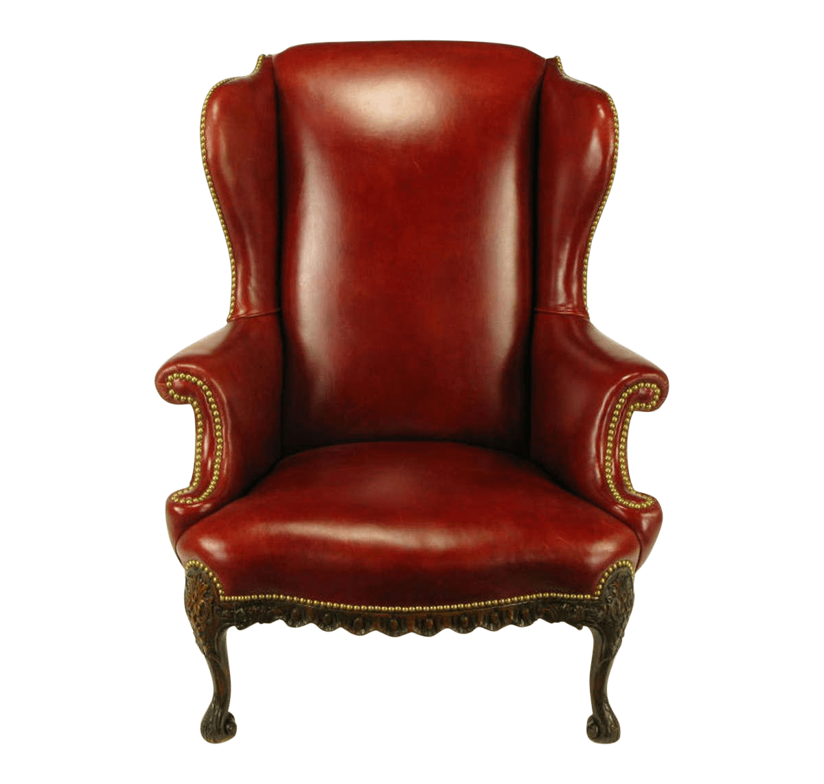 Circa 1940s red leather & carved walnut wingback chair brass