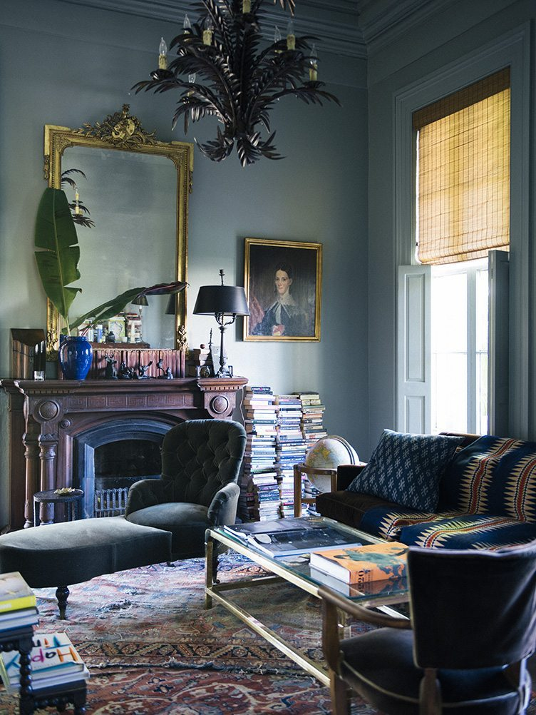 Sara Ruffin Costello New Orleans Blue Living Room