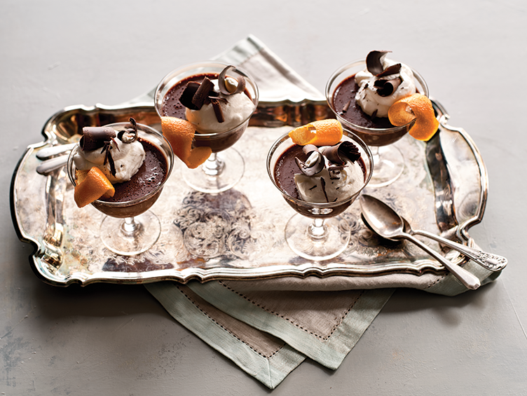 Brian Hart Hoffman's chocolate mousse in vintage glasses