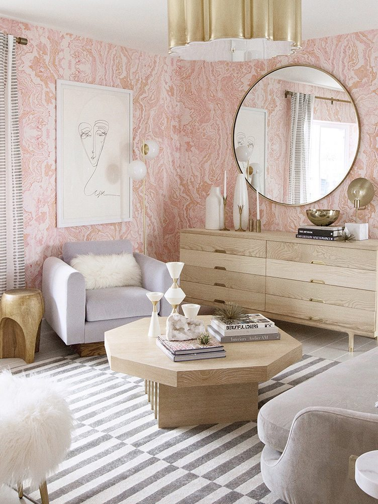 Sarah Sherman Samuel - Modern periwinkle loveseat, modern lamp, with wood dresser in pink bedroom