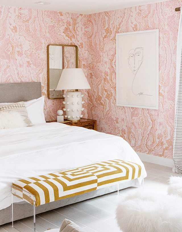 Sarah Sherman Samuel - contemporary bed, bedroom bench, and painting in pink bedroom