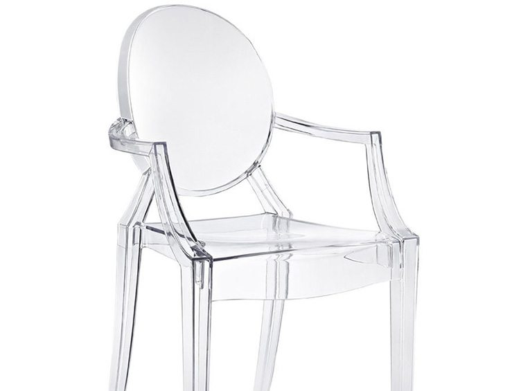 kartell starck ghost chair design lucite transparent seat decaso
