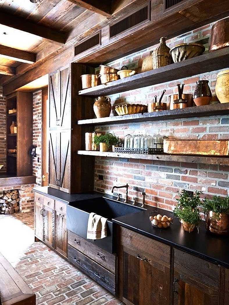 American rustic shelving, and countertops in red brick kitchen