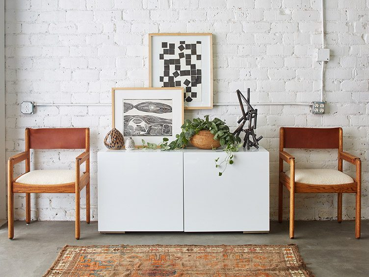 white blank canvas console vintage brick wall indoor blanks abstract art modern rustic chic