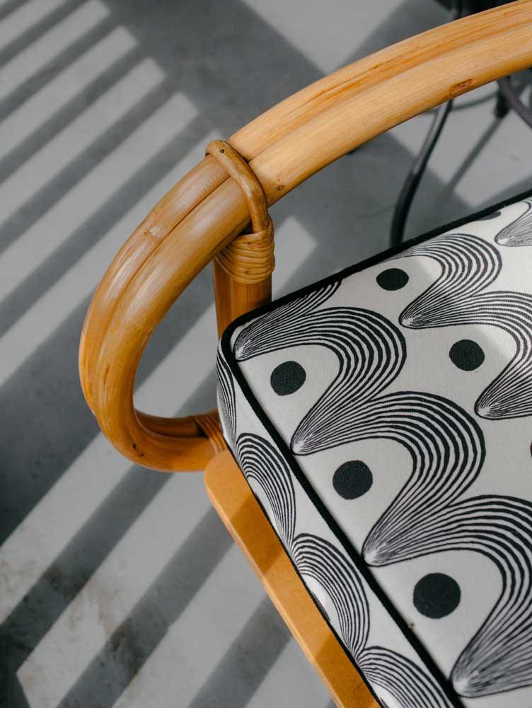 Revitaliste rattan sofa upholstery outdoor furniture vintage transformation Chairish
