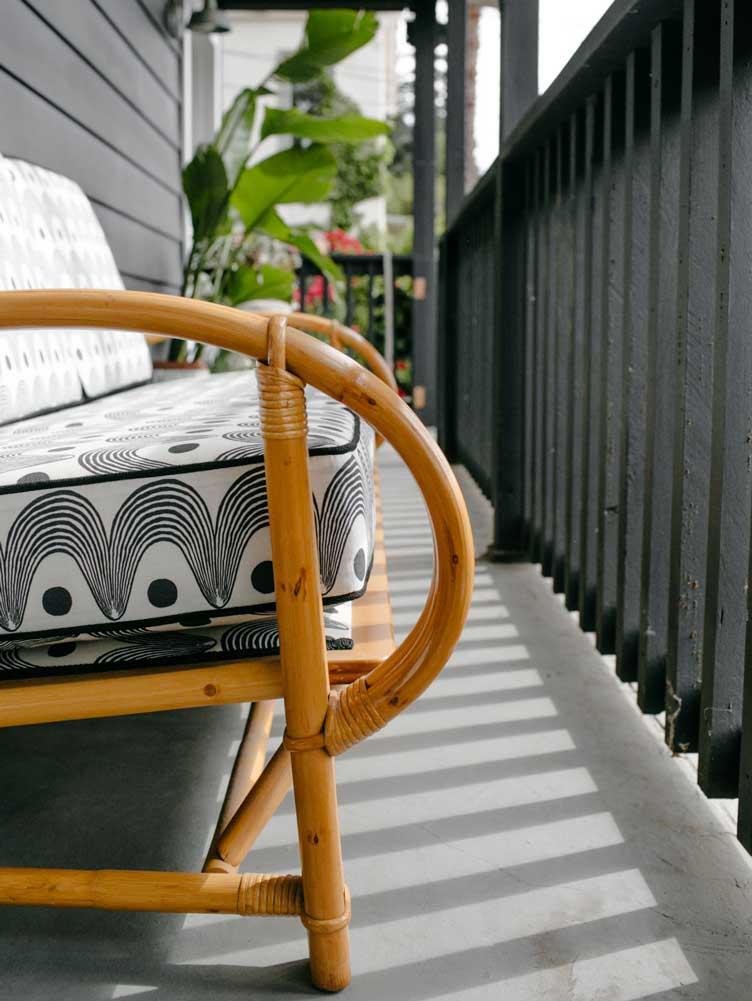 Revitaliste upholstery rattan bench black white vintage transformation outdoor furniture