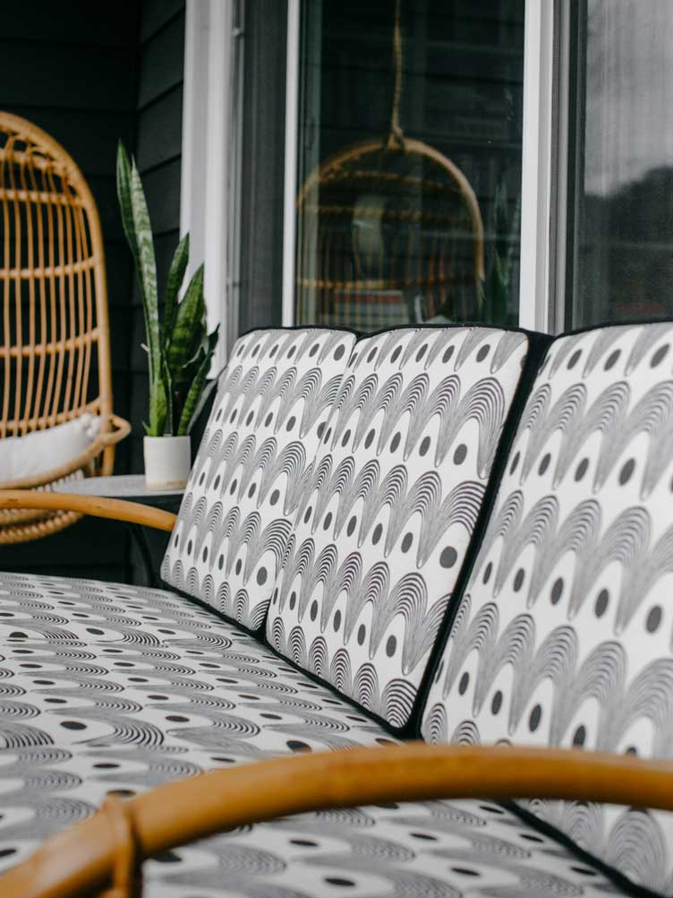 Revitaliste rattan bench outdoor furniture upholstery black white pattern cushion inserts