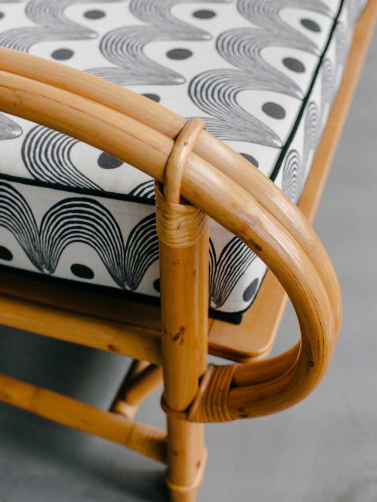 Revitaliste rattan bench upholstery black white welt cushions boho vibes outdoor furniture