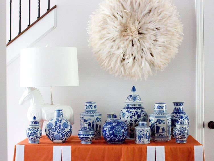 chinoiserie asian pottery orange tablecloth white horse lamp wall art blue white decor vintage Chairish