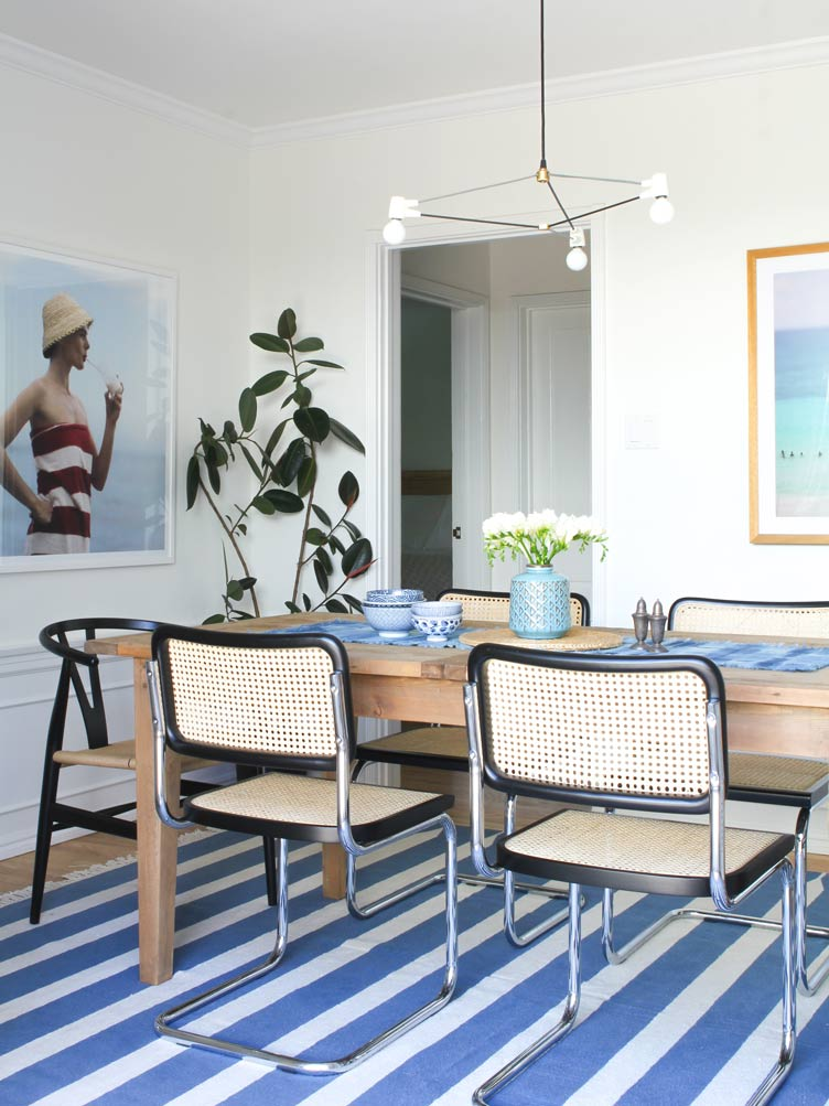blue white stripes rug woven chairs vintage antique minimalist light wood dining table Chairish
