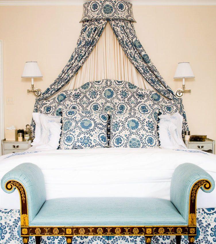 ikat suzani bedside bench blue white decorative white lamps gold embellishments Chairish