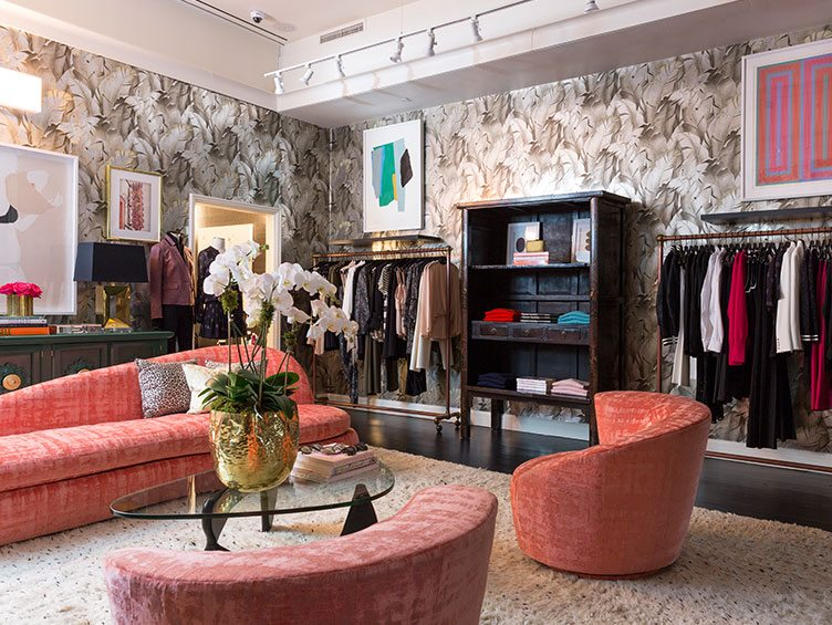 Veronica Beard clothing design wallpaper vintage coral couch furniture glass table display
