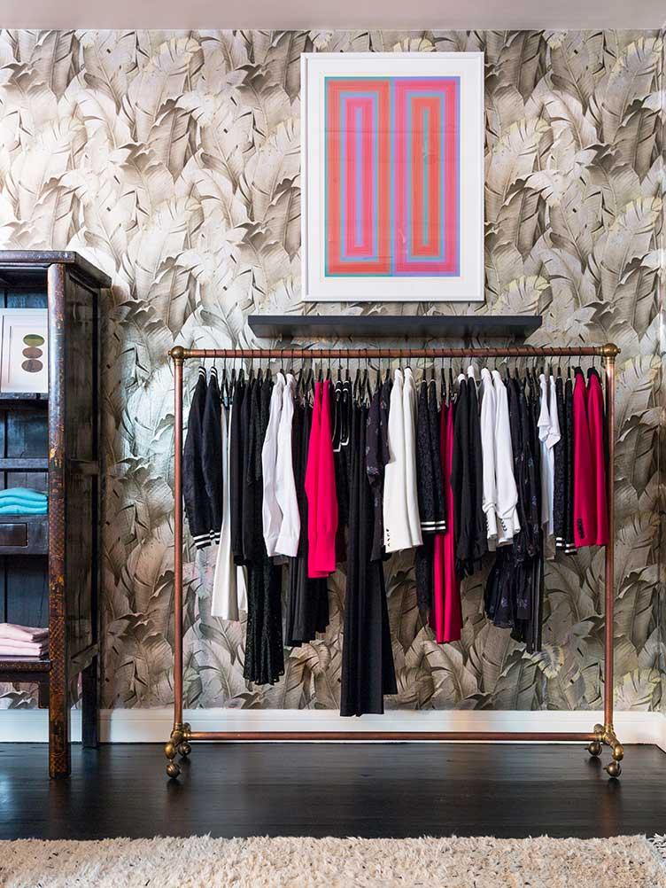 Veronica Beard clothing design SoHo rack decorative wallpaper wall art modern vintage
