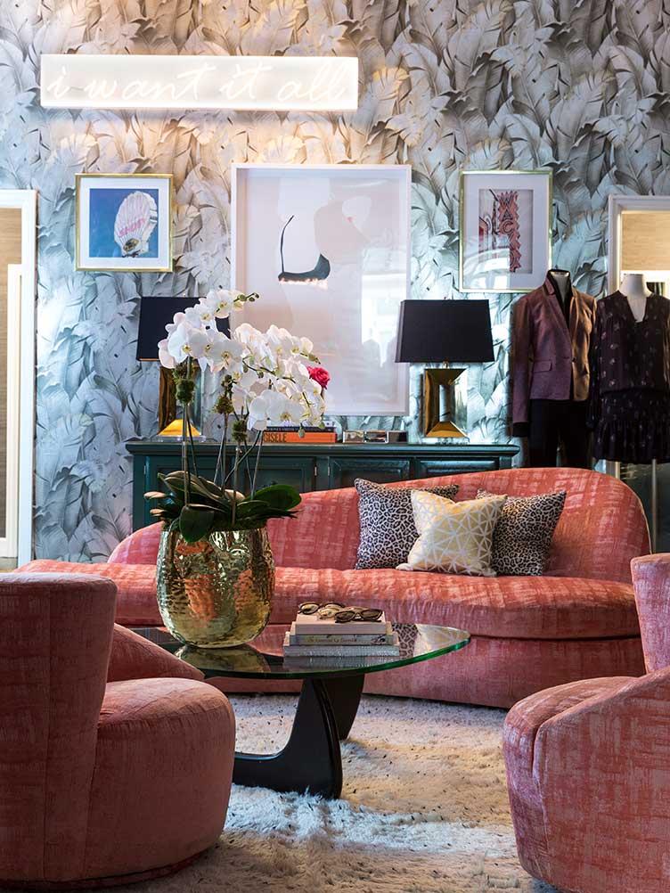 Veronica Beard clothing design SoHo sitting space store vintage modern furniture