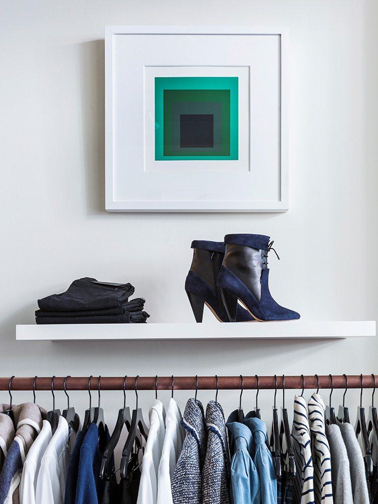 Veronica Beard design clothing shoes shirts coats display wall art vintage modern white green