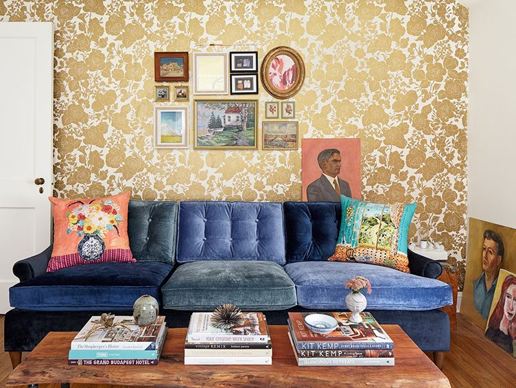 Eclectic Living Room Decorated with Gallery Wall and Vintage Portraits.