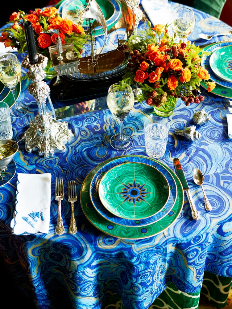 Maximalist Tableware With Blue and Green Color Scheme and Glamorous Silver Candleholders