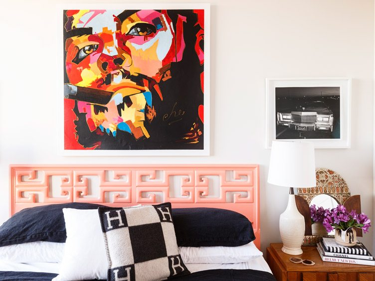 Contemporary Bedroom with Large Hanging Art and Black and White Photograph