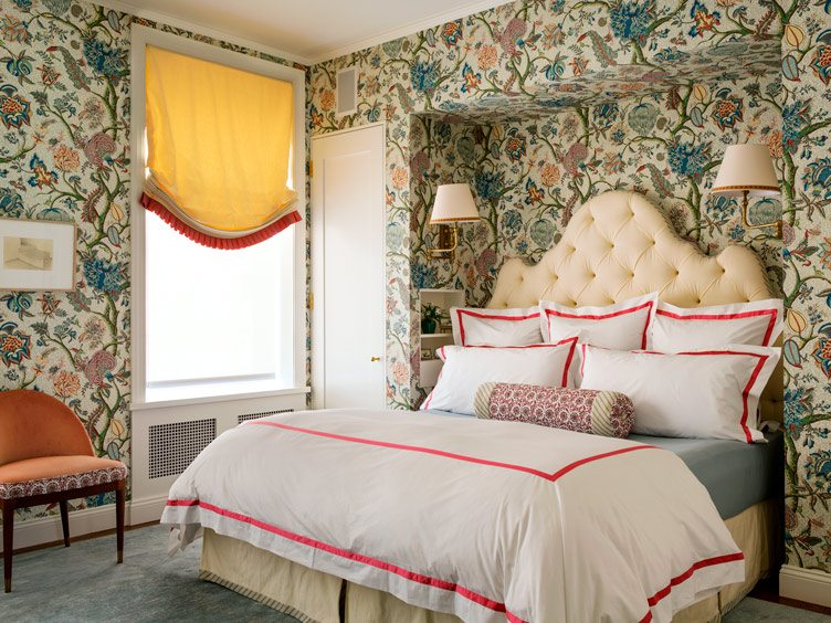 Tilton Fenwick interior design floral wallpaper tufted headboard bedroom yellow curtains white pink