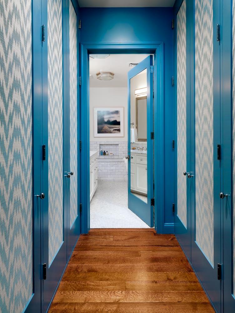 Tilton Fenwick interior design wallpaper light blue hallway wood floors jagged chevron Chairish