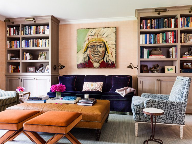 Traditional living Room with Large Painting of Native American Male Face.