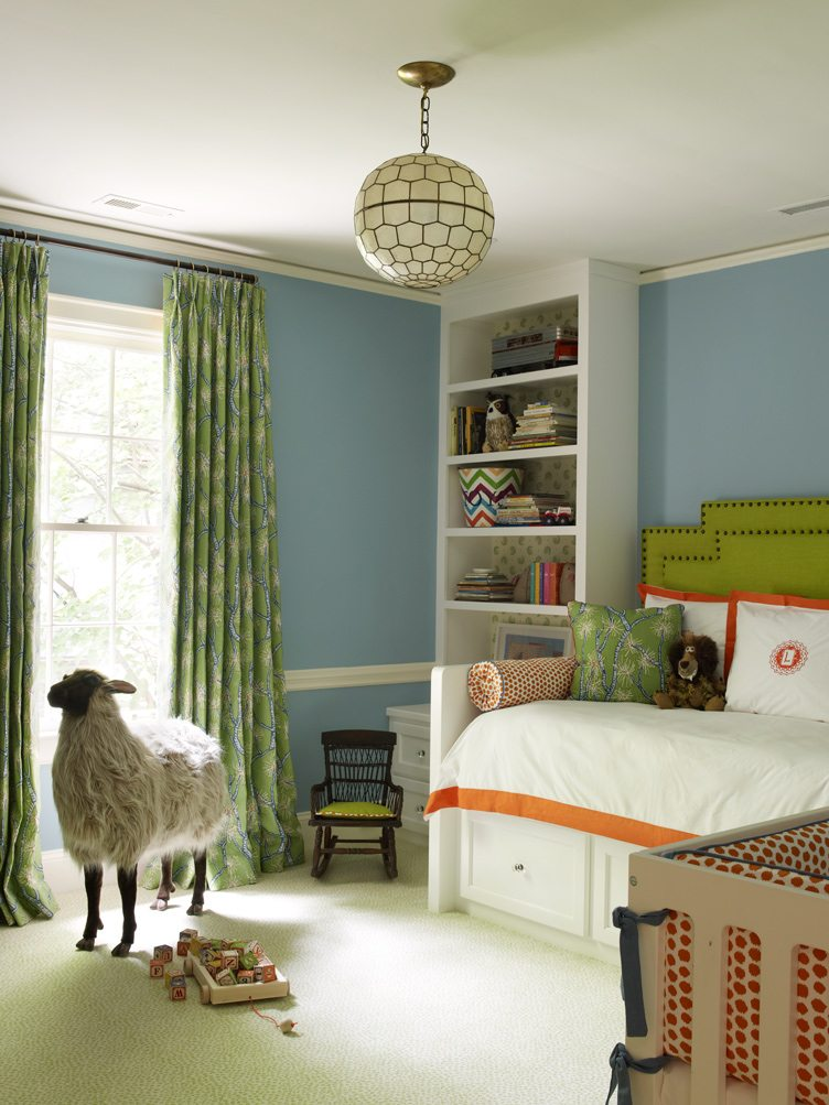 Kid's Room With Animalia Decor and brass and Glass Hanging Lamp.