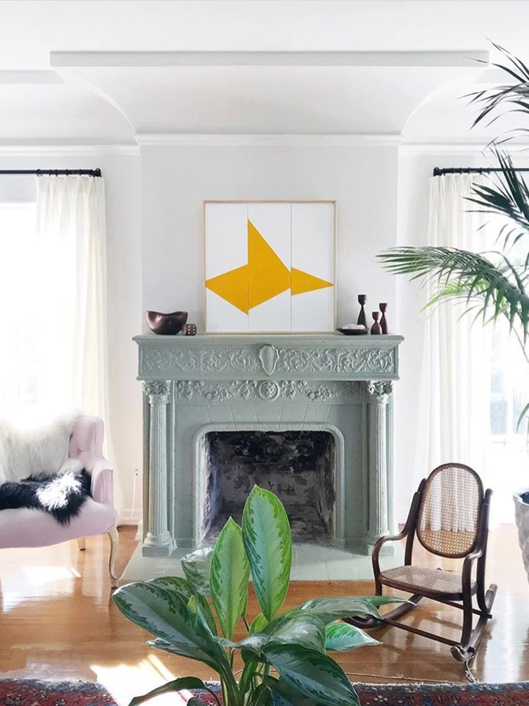 Large Traditional Fireplace with Abstract Geometric Art on Chairish.