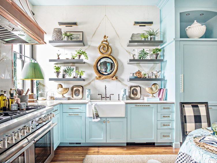 Eclectic Kitchen with Powder Blue Cabinets and Appliances and Grey Shelving with Potted Plants.