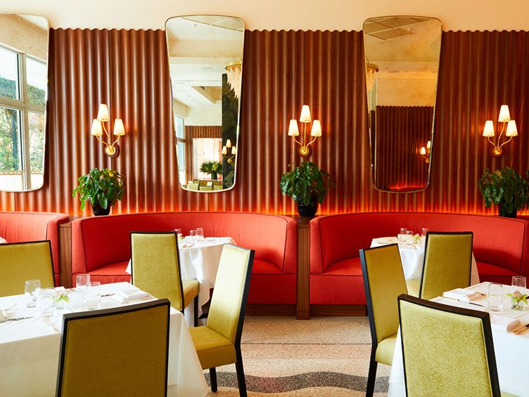 High-end Restaurant with Art Deco Interior and Red Benches on Chairish