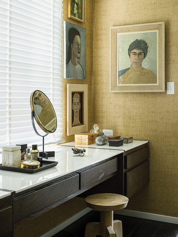 vintage oil paintings dressing room vanity antique potraits white wood burlap texture wallpaper