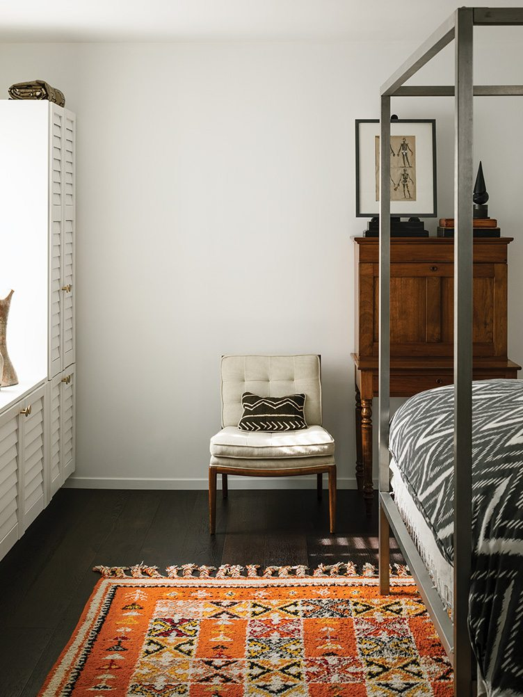 vintage orange moroccan rug guest bedroom white black floors shutter closets modern Chairish