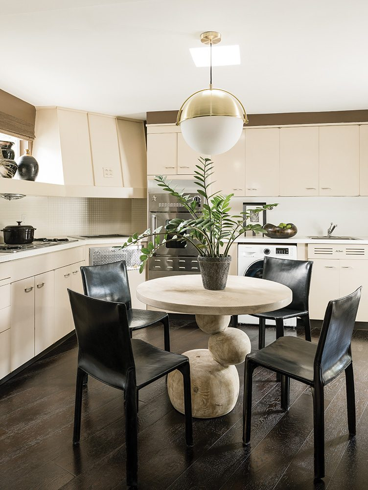 Palm Springs home Towne interior design kitchen dining set antique vintage pendant ceiling light