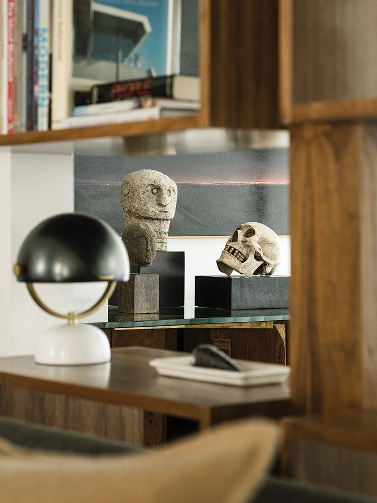 Palm Springs Florida Towne interior design antique vintage treasures wooden console desk lamp