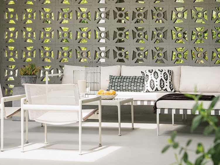 Palm Springs Florida Towne interior design outdoor furniture Richard Schultz white chrome concrete walls