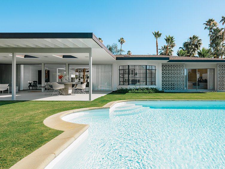 Palm Springs Florida backyard pool outdoor Towne interior design deck furniture Chairish
